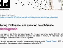 Le marketing d'influence, une question de cohérence #ParoledAgence à Curius - À lire sur Culture RP
