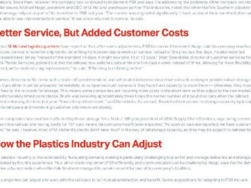 Precision Scheduled Railroading and Its Impact on the Plastics Industry