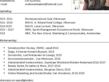 Curriculum Vitae (Dutch)